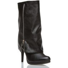 Shoedazzle Size 10 Black Boot Style: Nine, fold over boot with zipper. high heel. BRAND NEW!