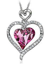 """LadyColour SWAROVSKI ELEMENTS Jewelry """"Rose Lover"""" Heart Pendant Necklace,a great gift for Wife,Girlfriend,Mom..."""