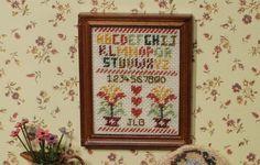 KIT cuadro de sampler miniatura con marco de madera, mitad cruz puntada,