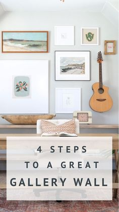 Here are four simple steps to guide you in creating your own gallery wall that is fresh, full of character and never cluttered. | #homedecor #walldecor #gallerywall #coastalwalldecor