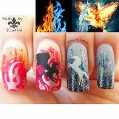 Nails by Cassis: MoYou London nail art challenge entry - Ice  Fire #nails #nailart #nailstamping #moyoulondon