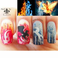 Nails by Cassis: MoYou London nail art challenge entry - Ice & Fire #nails #nailart #nailstamping #moyoulondon