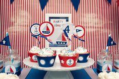 Nautical - Cupcake Wrappers - Birthday Boy - Printable - psDre Party Printables. €2,50, via Etsy.