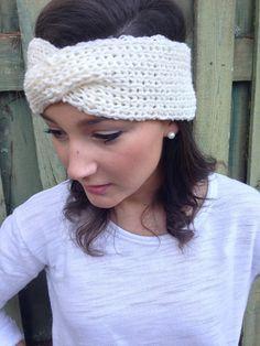 Wide Off-White Turban Twist Headband Knitted Turban Headband Earwarmer for Women, Girls, or Toddlers