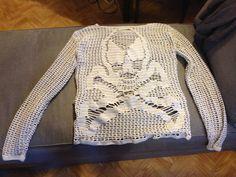 Filet crochet skull sweater.