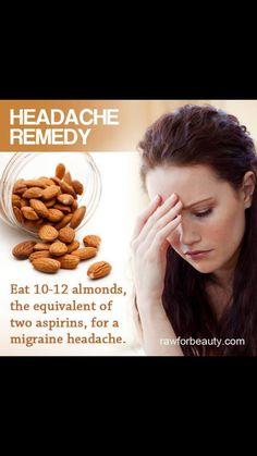 Almonds for a migraine headache Headache Symptoms, Headache Remedies, Headache Relief, Home Remedies, Migraine Headache, Health And Beauty Tips, Healthy Lifestyle, Beauty Hacks, Medical