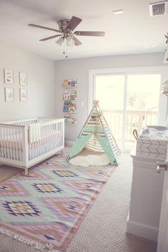 Project Nursery - Boho Nursery with Southwestern Rug and Teepee