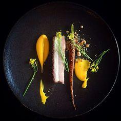 Entrada de porkbelly crujiente, zanahoria, avellana ...
