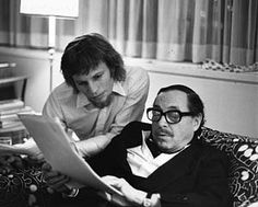 Tennessee Williams reviewing a script with Michael York, 1973.