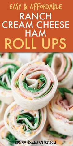 These Ham Roll Ups are going to be your favorite back to school lunch solution! Super quick and easy to make, ranch ham and cream cheese roll ups are totally kid-approved. You can even make these ham and cheese roll ups ahead of time, so they're an ideal meal prep solution. Ham Rollups are also perfect for serving at potlucks, picnics, parties too! Click through to get this easy ham roll ups recipe!! #rollups #hamrollups #hamandcheeserollups #ham #lunchbox #backtoschool #easylunchrecipes Easy Potluck Recipes, Easy Holiday Recipes, Lunch Box Recipes, Appetizer Recipes, Breakfast Recipes, Snack Recipes, Easy Meals, Summer Recipes, Ham Roll Ups