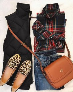 What an awesome outfit! I never would have thought to pair plaid and leopard but I love it! Fall Winter Outfits, Autumn Winter Fashion, Summer Outfits, Casual Outfits, Winter Style, Preppy Fall Outfits, Vest Outfits, Mens Winter, Looks Chic