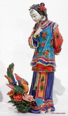 Ceramic Porcelain Figurine Chinese Oriental Lady.