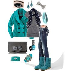 Teal and Grey - Polyvore, love this but not the button jean pocket... But love the outfit!!!!
