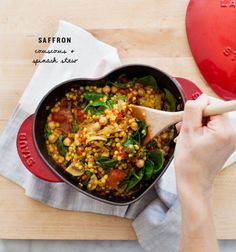 saffron couscous & spinach stew