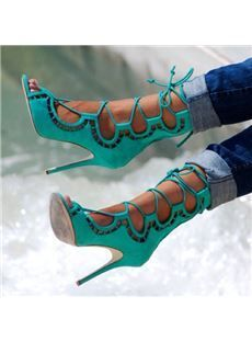 2017 Hot Cut Out Women Lace Up Sandals Sexy Peep Toe Suede Leather Ladies Fashion High Heels Female Dress Shoes Party Shoes Sexy High Heels, Frauen In High Heels, Open Toe High Heels, Womens High Heels, Suede Ankle Boots, Heeled Boots, Shoe Boots, Lace Up Sandals, Dress Sandals