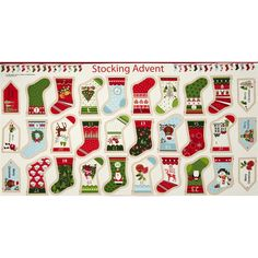 Christmas Metallic Stocking Advent Panel from @fabricdotcom  Designed by The Henley Studio for Andover/Makower, this cotton panel is perfect for making your very own advent calendar.  Colors include cream, black, green, red, blue, yellow and brown.  This panel measures approximately 23.5'' x 44''.