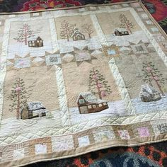 Lace Cabins by Meg Hawkey Crabapple Hill Studio . Quilted by Wendy Iris, Unexpected Threads Embroidered Quilts, Applique Quilts, Small Quilts, Mini Quilts, Colchas Quilt, Farm Quilt, Quilt Modernen, Winter Quilts, Landscape Quilts