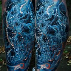 """@illustratedmonthly's photo: """"Bad ass skull tattoo by @domantasparvainis!  www.illustratedmonthly.com digital books 
