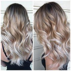 Color correction: spotty blonde to lovely violet ash - hair color - modern salon Beleyage Hair, Ash Hair, Hair Dye, Blond Ombre, Blonde Balayage, Ash Blonde, Sombre Hair, Blonde Brunette, Tiger Eye Hair Color