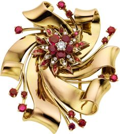 Retro Ruby, Diamond, Gold Brooch, Tiffany & Co.  The brooch features round-shaped rubies weighing a total of approximately 2.50 carats, enhanced by full and single-cut diamonds weighing a total of approximately 0.35 carat, set in 14k gold, marked Tiffany & Co