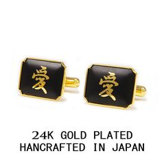 KANJI WORD LOVE GOLD LEAF 3 MICRON 24K GOLD PLATED CUFF LINKS MADE IN JAPAN #Handmade