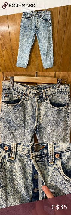 """Vintage 80s Red Tag Acid Wash Button Fly Levi's Such cute jeans! Button fly. It says size 30 but I think it would fit 29 as well as 30. Size: 30 Waist: 15"""" Hips: 20"""" Rise: 11"""" Inseam: 29"""" Thigh measurement: 10"""" Vintage Jeans Black Mom Jeans, High Waisted Black Jeans, High Waist Jeans, Vintage Mom Jeans, High Rise Mom Jeans, Tommy Hilfiger Sweater, Jeans Button, Cute Jeans, Embroidered Jeans"""