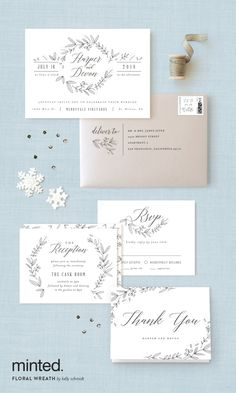 Grey and soft blue wedding stationary: http://www.minted.com/product/wedding-invitations/MIN-JDY-INV/floral-wreath?utm_medium=social&utm_source=pinterest&utm_sub=stylemepretty&utm_campaign=SMPFPB1216&utm_content=floral_wreath Artist: Kelly Schmidt #sponsored