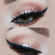 39 Top Rose Gold Makeup Ideas To Look Like A Goddess Gold makeup as well as pink makeup is really jazzy right now. Have you already tried this charming and trendy makeup look? Makeup Looks 2017, Rose Gold Makeup Looks, Golden Makeup, Pink Makeup, Blue Eye Makeup, Gorgeous Makeup, Colorful Makeup, Makeup For Brown Eyes, Make Up Gold