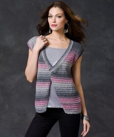 The subtle pattern stitch texture is the perfect complement to the softly shaded yarn. This knit vest spans the seasons with a bit of sparkle for updated style.
