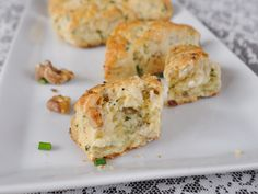 Gluten free Goat Cheese, Chive and Walnut Scone - Gluten Free Scones, Pie Crumble, Brownie Cupcakes, Goat Cheese, Goats, Sushi, Dairy Free, Baking, Ethnic Recipes