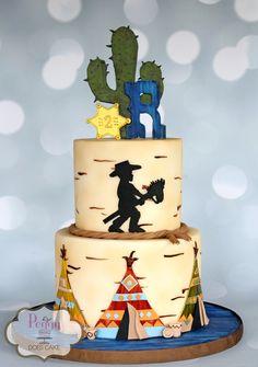 Cowboys and Indians cake Western Cake Southwest Cake Teepee Cake Cactus Cake