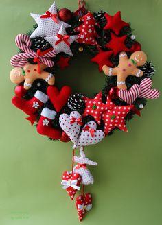 *** Elehandmade *** kreatívne nápady MK Christmas Sewing, Christmas 2017, Christmas Holidays, Christmas Wreaths, Christmas Crafts, Christmas Ornaments, Handmade Christmas Decorations, Xmas Decorations, Christmas Cushions
