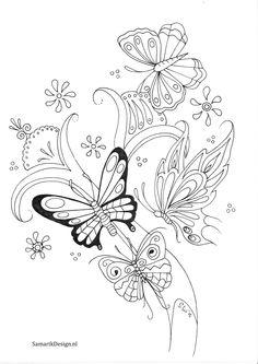 Kleurplaat voor volwassenen. Butterflies