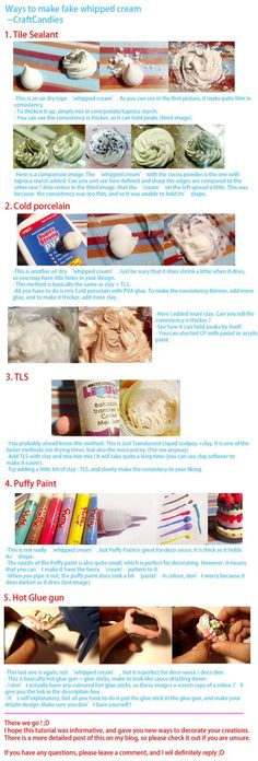 Polymer Clay : Whipped Cream alternatives by ~CraftCandies on deviantART, Using Tile Sealant, Cold Porcelain, TLS, Puffy Paint or Hot Glue Gun Polymer Clay Miniatures, Fimo Clay, Polymer Clay Projects, Polymer Clay Charms, Polymer Clay Creations, Polymer Clay Art, Clay Crafts, Bjd, Biscuit