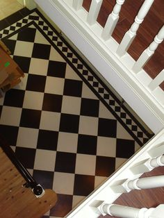 Tiled black and white diamond pattern hallway with border,more tiling project… Hall Tiles, Tiled Hallway, Black And White Tiles, Entrance Hall, Diamond Pattern, Animal Print Rug, Tiling, Flooring, Facebook