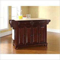 Crosley Furniture Alexandria Natural Wood Top Mahogany Kitchen Island - KF30001AMA