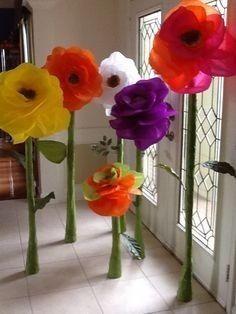 Resultado de imagen de flores gigantes con papel
