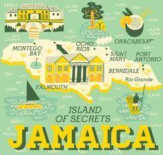 Jamaica map by Owen Davey #owendavey #map #jamaica