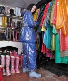 Vinyl Raincoat, Blue Raincoat, Pvc Raincoat, Plastic Raincoat, Plastic Pants, Pvc Fashion, Wellies Rain Boots, Latex Costumes, Rain Suit