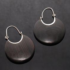 Bijoux Touareg Ethniques Boucles d'oreilles Créoles en argent ébène plates 3 cm