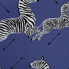 Scalamandre Zebra Wallpaper in Denim