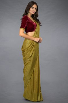 Mehandi Green Sequin Embroidered Stitched Saree with Blouse Fashion Designer, Indian Designer Outfits, Indian Outfits, Designer Dresses, Indian Dresses, Saree Wearing Styles, Saree Styles, Fancy Sarees, Party Wear Sarees