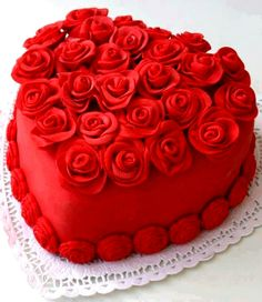 #Valentine's Day #red #rose #heart shaped #cake #baking #DIY #crafts  ToniK ℬe Meℜℜy