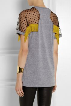 TNTees|Kate fringed mesh-paneled jersey top *Back view