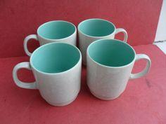Poole Pottery, 4 x Twintone Coffee Mugs or Tea Mugs, Ice Green & Grey