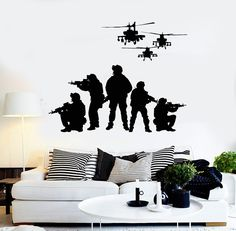 Our vinyl stickers are unique and one of a kind! Every sticker we sell is made per order and cut in house! We make our wall decals using superior quality interior and exterior glossy, removable vinyl Military Bedroom, Army Bedroom, Mural Art, Wall Murals, Military Stickers, Army Decor, Back The Blue Decal, Vinyl Wall Stickers, Wall Vinyl