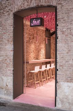 Ideo arquitectura adds undulating pink canopy to madrid pastry shop all images by miguel de guzmán / courtesy of ideo arquitectura Bakery Design, Cafe Design, Restaurant Design, Store Design, Restaurant Bar, Restaurant Interiors, Bakery Interior, Retail Interior, Interior And Exterior