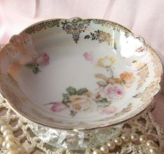 Vintage Rose Plate Bowl Ring Holder/ Business by happybdaytome, $16.95