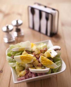 Salade parisienne : jambon champignons emmental oeufs durs - Recettes de cuisine Ôdélices