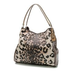 Pre-Owned Coach Ocelot Print Madison Phoebe Shoulder Bag ($150) ❤ liked on Polyvore featuring bags, handbags, shoulder bags, coach handbags, brown shoulder bag, pre owned handbags, shoulder handbags and pocket purse